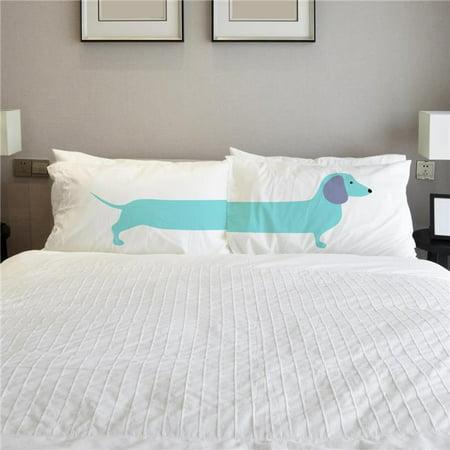 One Bella Casa 82885CSE Long Doxie Pillow Case - Aqua, Set of (Bella Pillow)