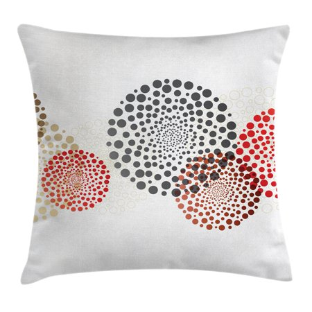 Abstract Decor Throw Pillow Cushion Cover, Modern Cool Decoration with Dots like and Circled Design Artwork, Decorative Square Accent Pillow Case, 16 X 16 Inches, Red Grey and Maroon, by Ambesonne (Modern Throw Pillows)