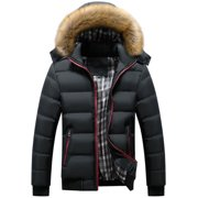 Mens Padded Bubble Fur Snow Hooded Coat Winter Puffer Quilted Down Jackets Parka