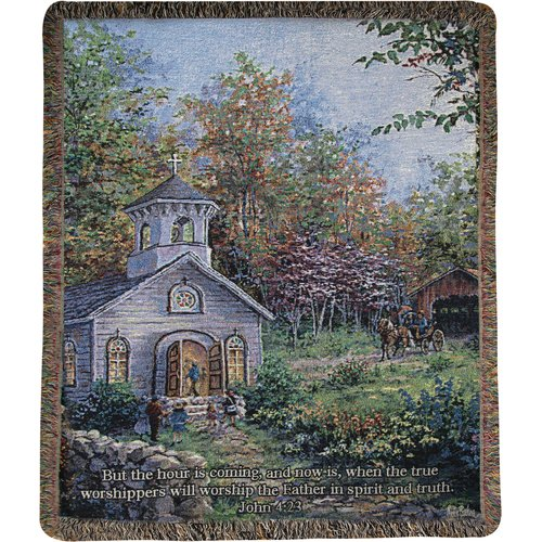 Manual Woodworkers & Weavers Worship in the Country Tapestry Cotton Throw