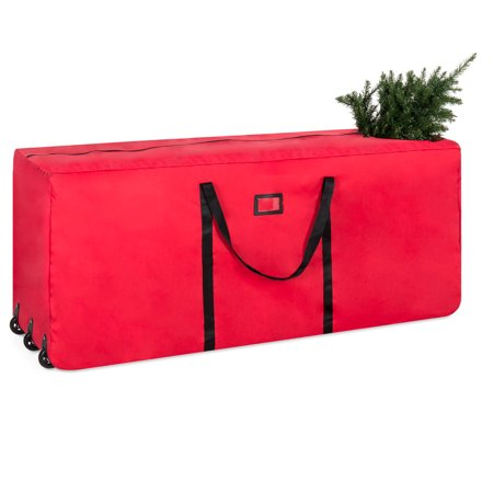 Best Choice Products Rolling Duffel Holiday Decoration Storage Bag for Up To 9ft Christmas Tree w/ 600D Polyester Fabric, Wheels, Handle - Red - Affordable Christmas Decorations