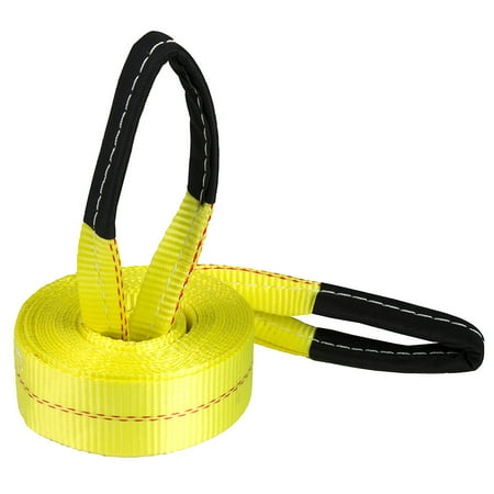 Deluxe Recovery Tow Strap with Reinforced Looped Ends and 10,000 lb. Break Strength, Yellow (2 in x 20 ft)
