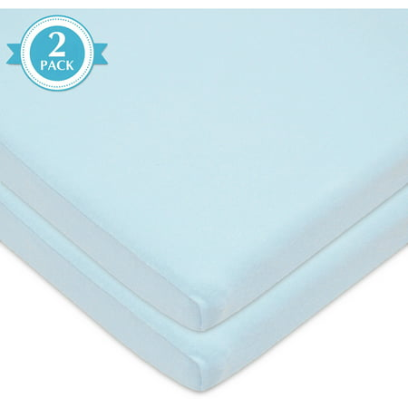 American Baby Company 2 Pack 100% Natural Cotton Value Jersey Knit Fitted Bassinet Sheet, Blue, Soft Breathable, for Boys and