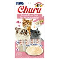 Inaba Churu Grain-Free Cat Treat, Tuna with Salmon Puree, 4 Tubes