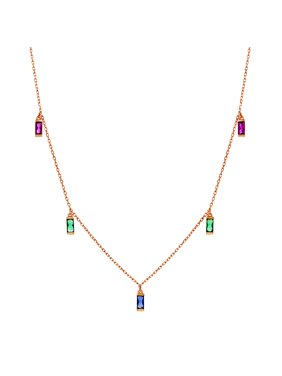 5f2e6a81c Product Image Multicolored Cubic Zirconia Dangle Necklace in Rose Gold  Plated Sterling Silver