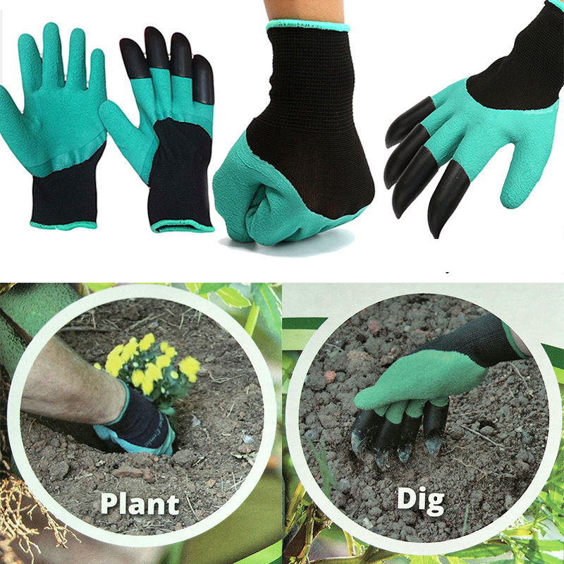 Binmer? 1 pair new Gardening Gloves for garden Digging Planting with 4 ABS Plastic Claws