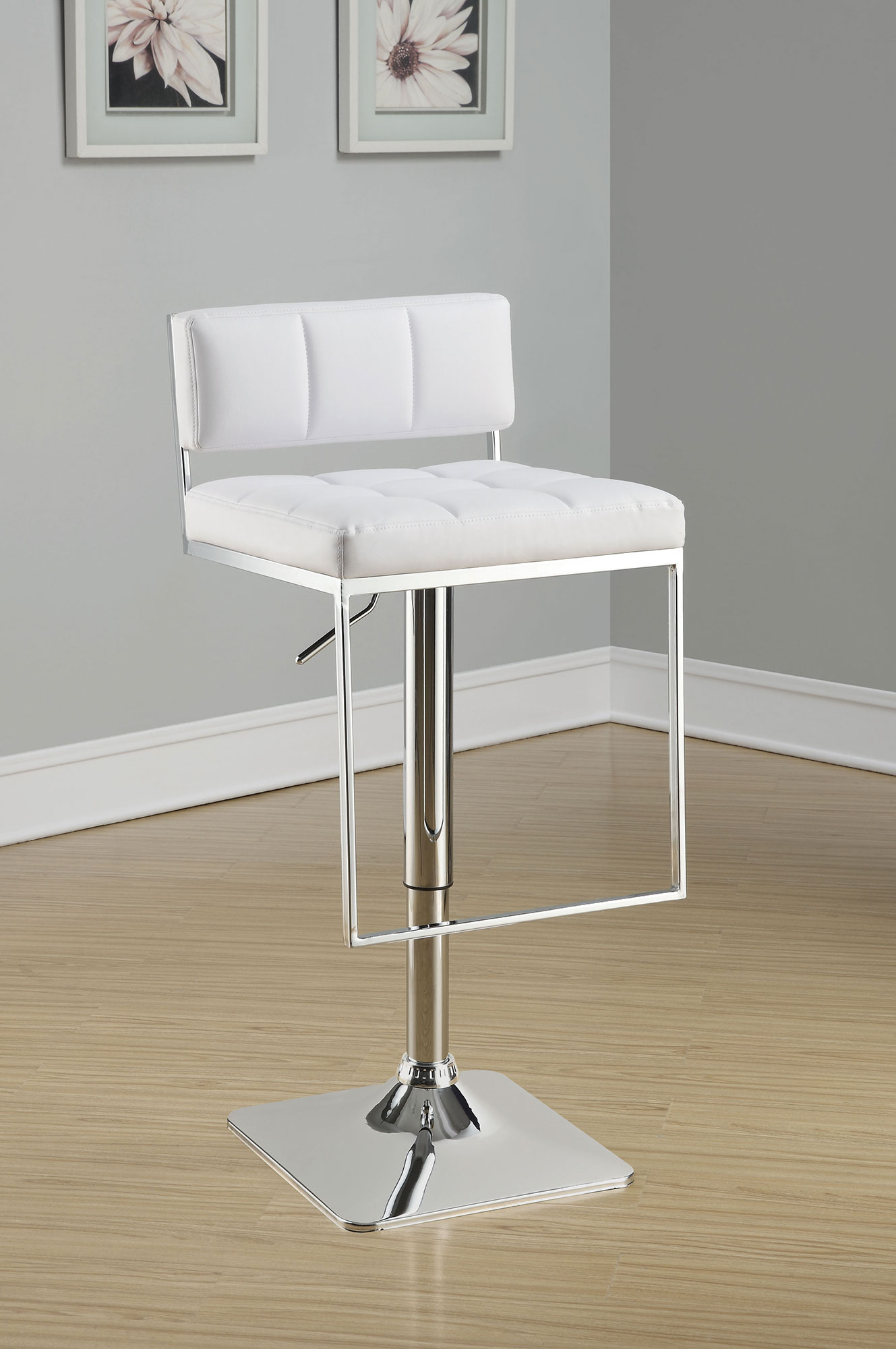 1PerfectChoice Modern Pub Chair Bar Stool Adjustable Ht. White PU Rectangular Back Foot Rest by 1PerfectChoice
