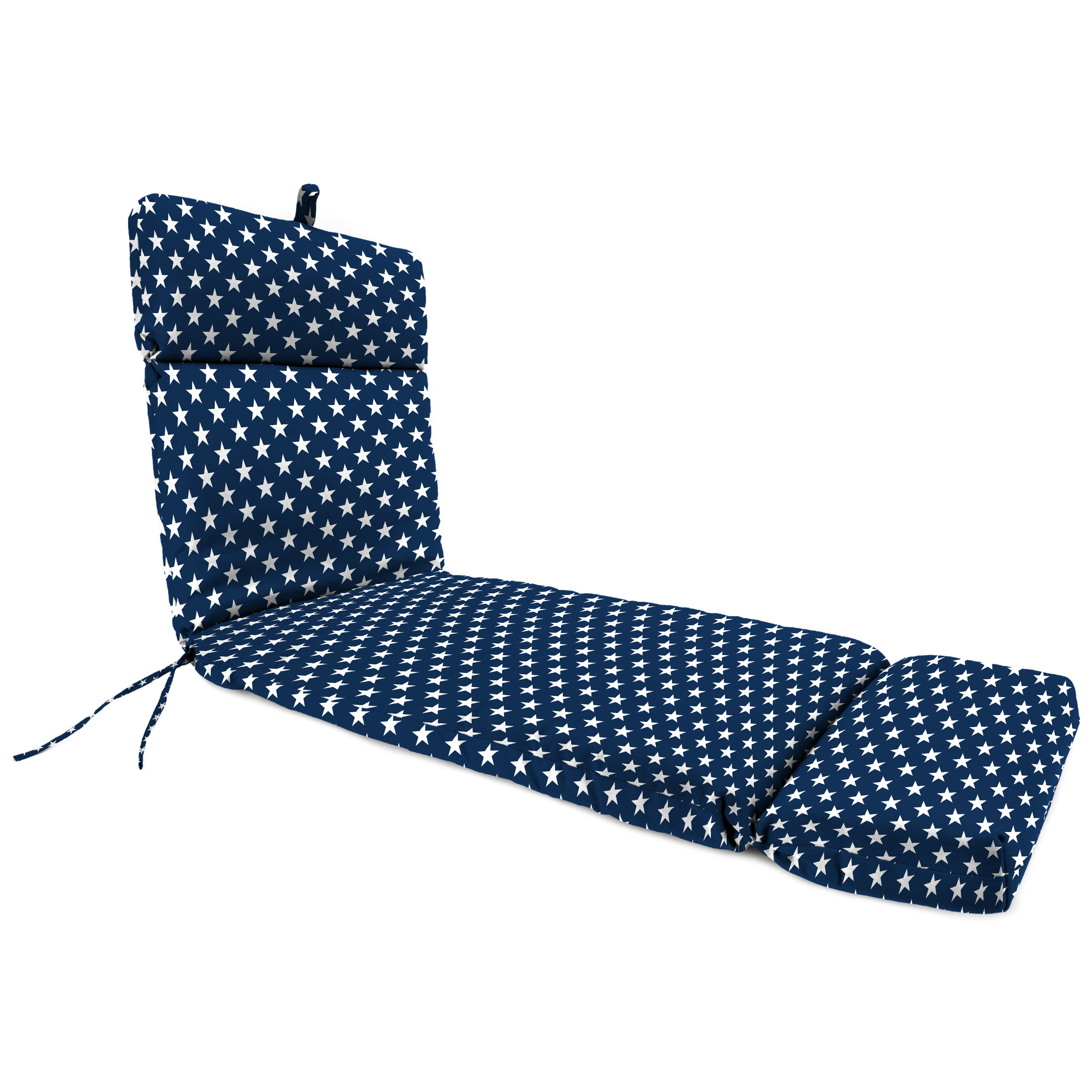 Jordan Manufacturing Outdoor French Edge Chaise Lounge Cushion, Stars Oxford