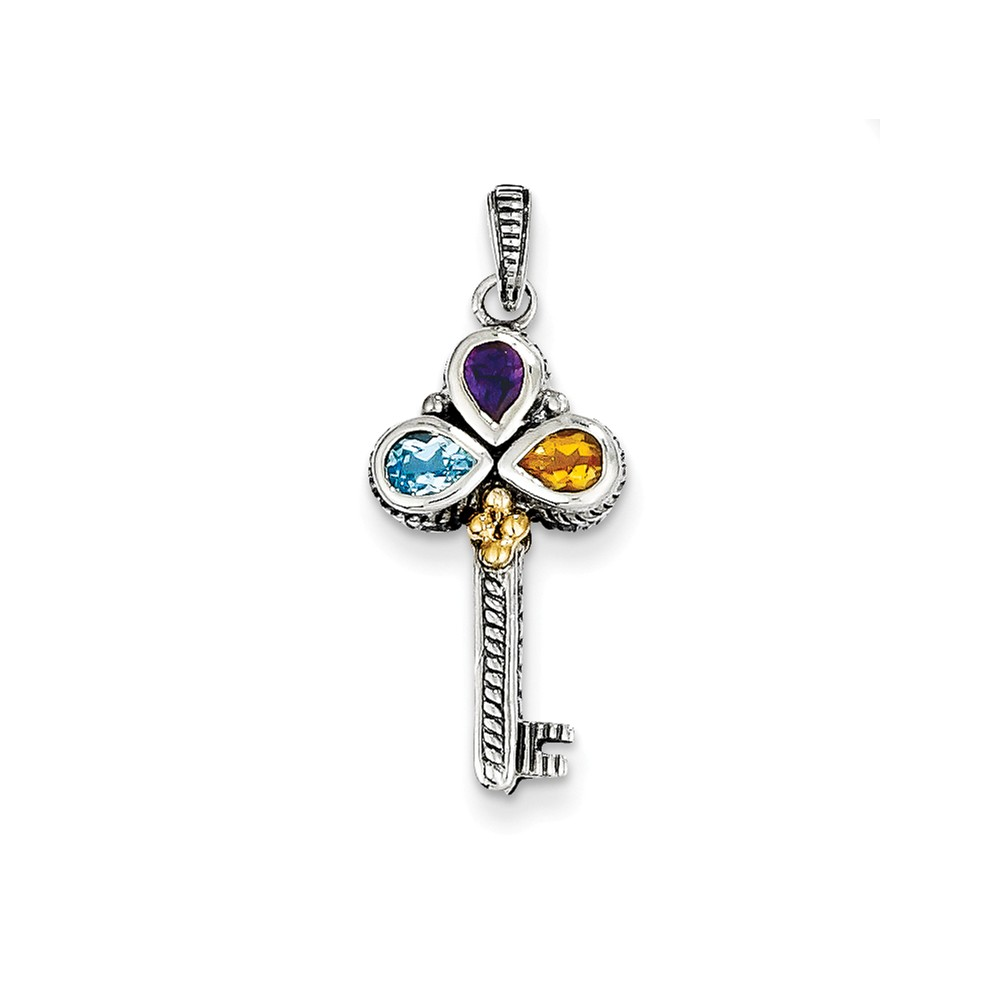 Sterling Silver 14k Yellow Gold Vintage .48tw Multi Gemstone Key Charm 0.48ct (0.9in long x 0.4in wide)