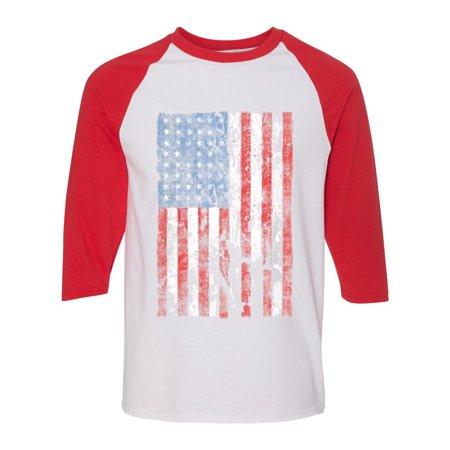 Distressed American Flag 3/4 Raglan Sleeve Womens Mens Shirt (Three Quarter Sleeve Tshirt)