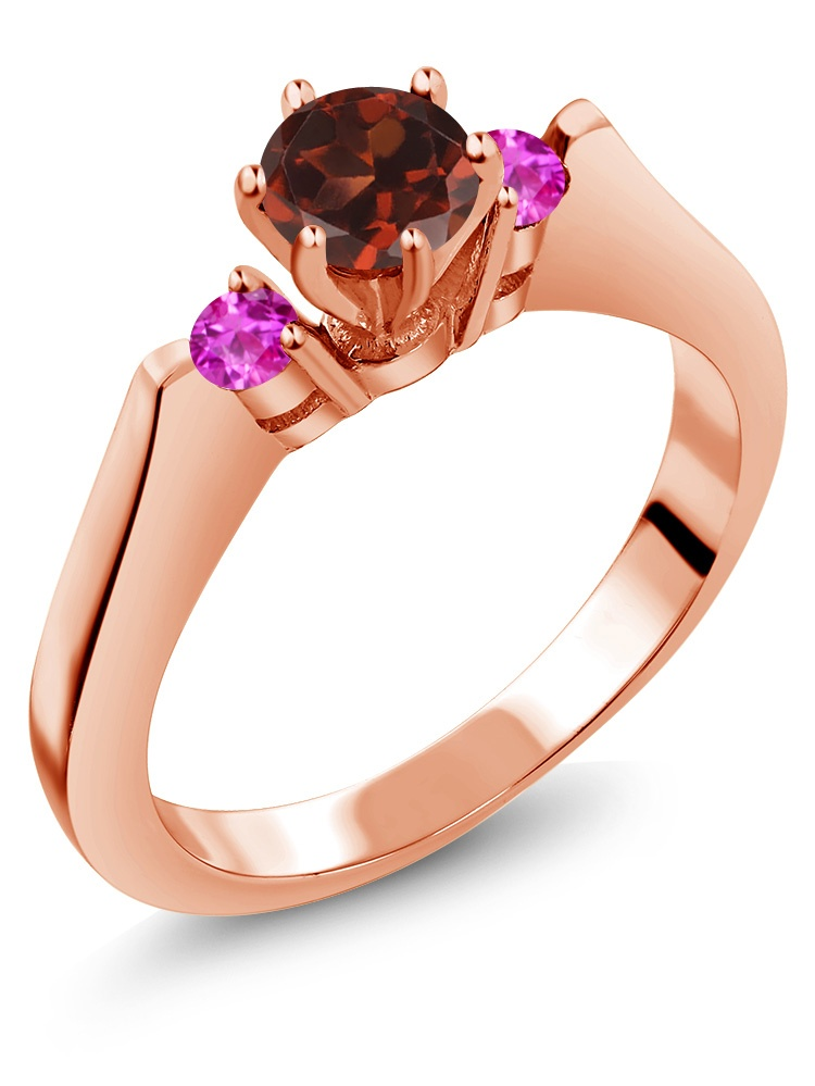 0.76 Ct Round Red Garnet Pink Sapphire 925 Rose Gold Plated Silver 3-Stone Ring by