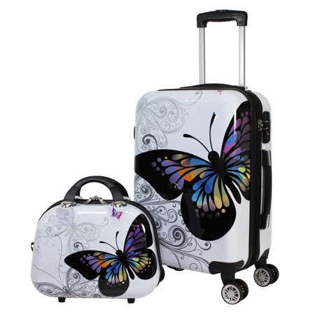 Butterfly 2 Piece Hardside Carry-on Spinner Luggage Set -