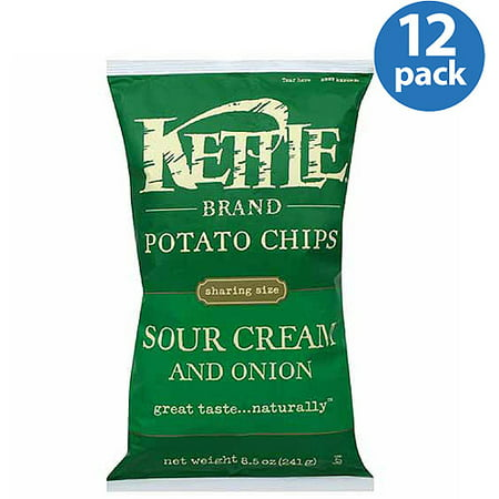 Kettle Brand Sour Cream and Onion Potato Chips, 8.5 oz, (Pack of 12) Sour Cream Onion Potato
