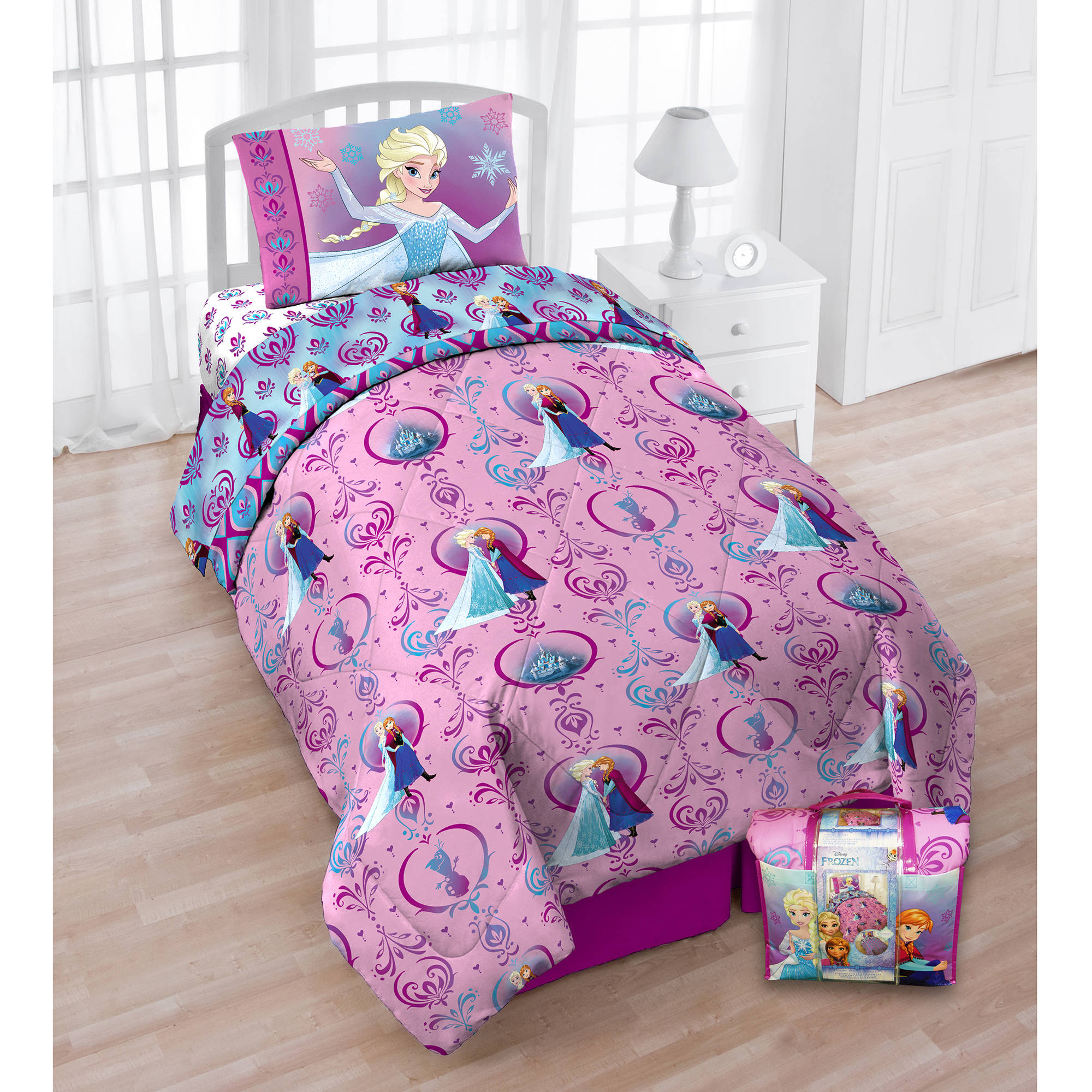 Disneys Frozen Floral Frost Twin Bedding Set With Bonus Tote Exclusive