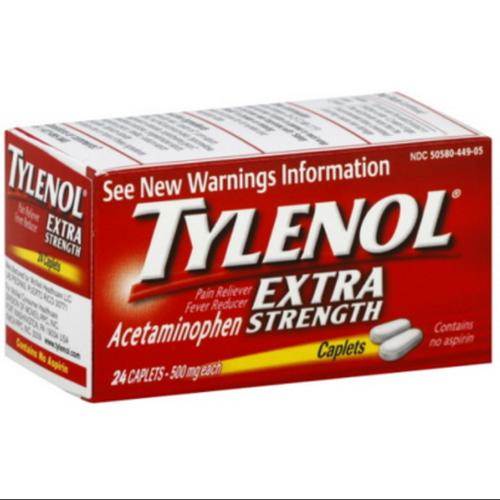 TYLENOL Extra Strength Acetaminophen 500 mg Caplets 24 ea (Pack of 6)