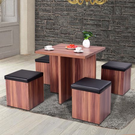 Costway 5 Piece Wood Dining Table Set Kitchen Dinette Table Set Storage Ottoman -