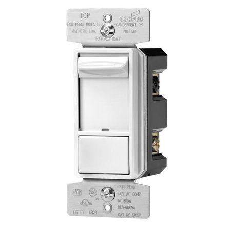 Dimmer Finish (Eaton SAL06P-W-K Skye AL Series 3-Way Single-Pole Sliding Dimmer Switch with Rapid Start Feature, White)