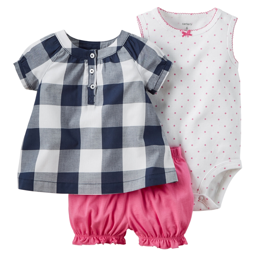 Carters Baby Clothing Outfit Girls 3-Piece Bodysuit & Diaper Cover Set Gingham
