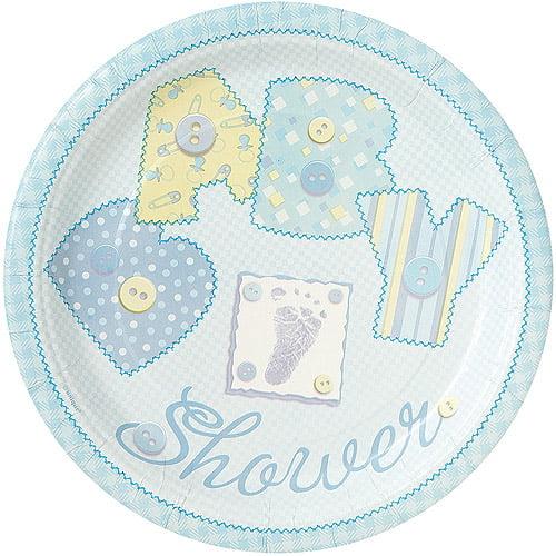 "9"" Blue Stitching Baby Shower Plates, 8ct"