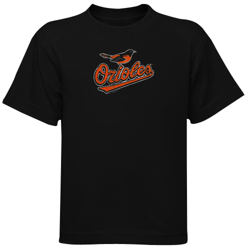 Baltimore Orioles Youth Distressed Team Logo T-Shirt - Black