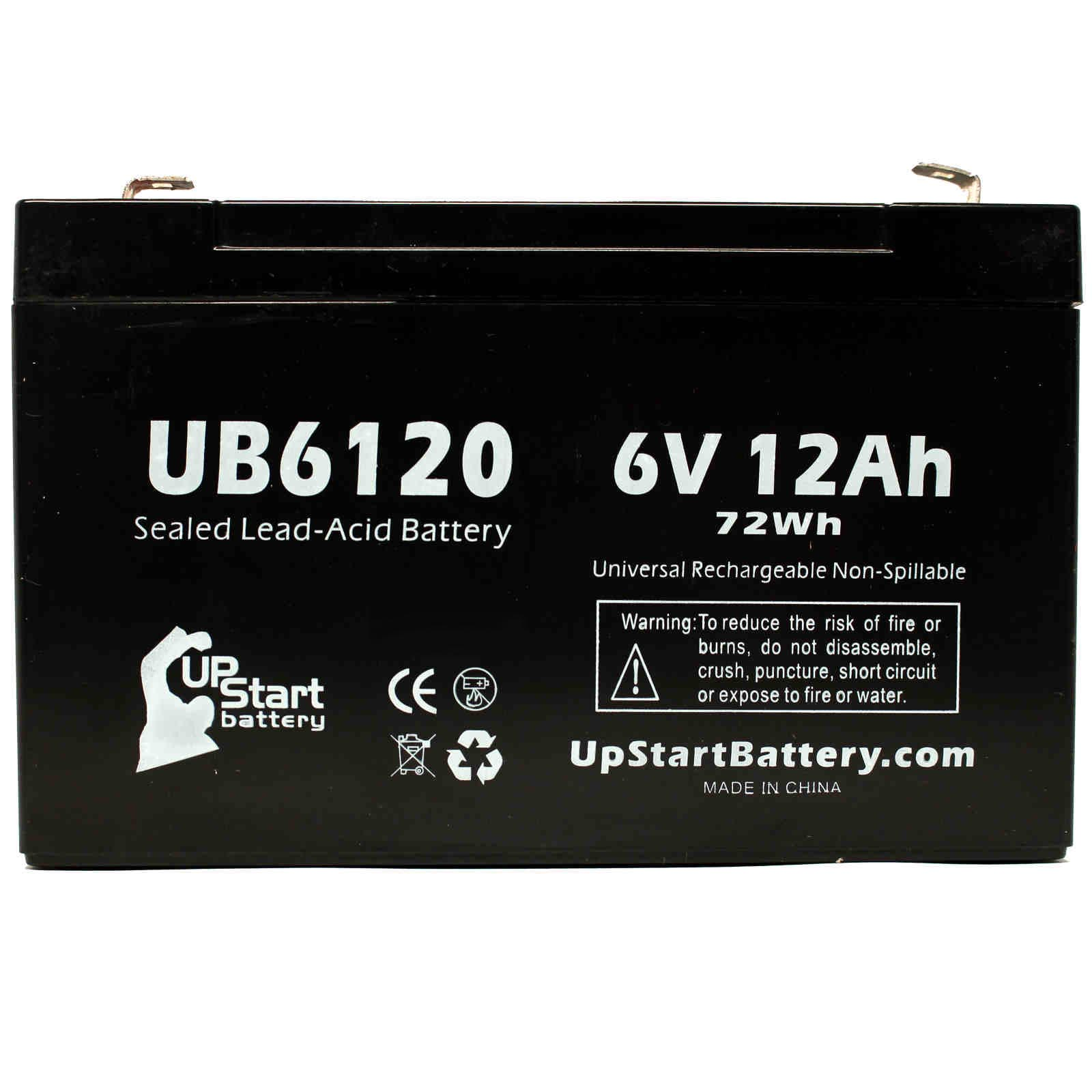 5x Pack - ACCESS BATTERY SLA6100 Battery Replacement - UB6120 Universal Sealed Lead Acid Battery (6V, 12Ah, 12000mAh, F1 Terminal, AGM, SLA) - Includes 10 F1 to F2 Terminal Adapters - image 3 de 4