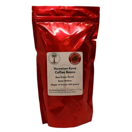 Hawaiian Kona Coffee 1 Pound (454 grams) - Whole Bean, Medium Roast - 100% Kona, Not a Blend (Kona Unit)