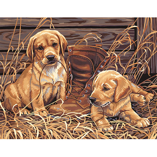 """Dimensions Paint By Number Kit, 14"""" x 11"""", Puppies Plaything"""