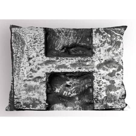 Letter H Pillow Sham Victorian Stylized Capital H Font In Chrome Rock Tones Steel Look Retro Design  Decorative Standard Size Printed Pillowcase  26 X 20 Inches  Black Grey  By Ambesonne