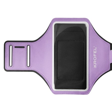 Krofel Gym Training Running Sports Armband for Motorola Moto Z2 Force / G6 Play / Samsung Galaxy S8+ / S9+ / Note 9 / HTC U12+ / iPhone Xs MAX / XR / 8 Plus / 7+ Plus / LG V35 / G7 ThinQ - (Purple) (Galaxy Trainer)