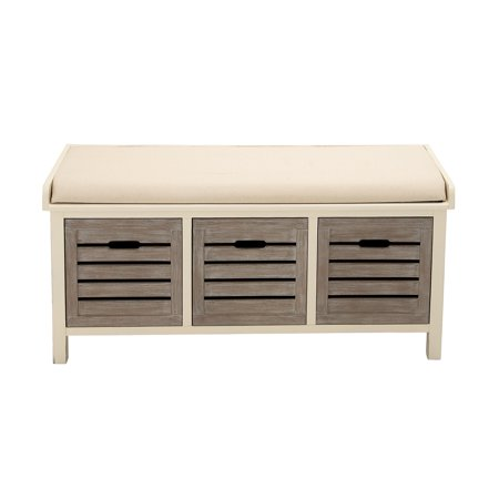 Decmode 42 Inch Beige Wood Storage Bench With Cushion 3 Drawers