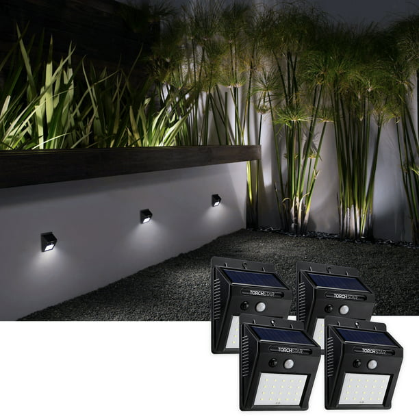 Torchstar Led Solar Motion Sensor Lights Wireless Outdoor Wall Lights Outdoor Security Wall Mount Light For Garden Patio Black Pack Of 4 Walmart Com Walmart Com