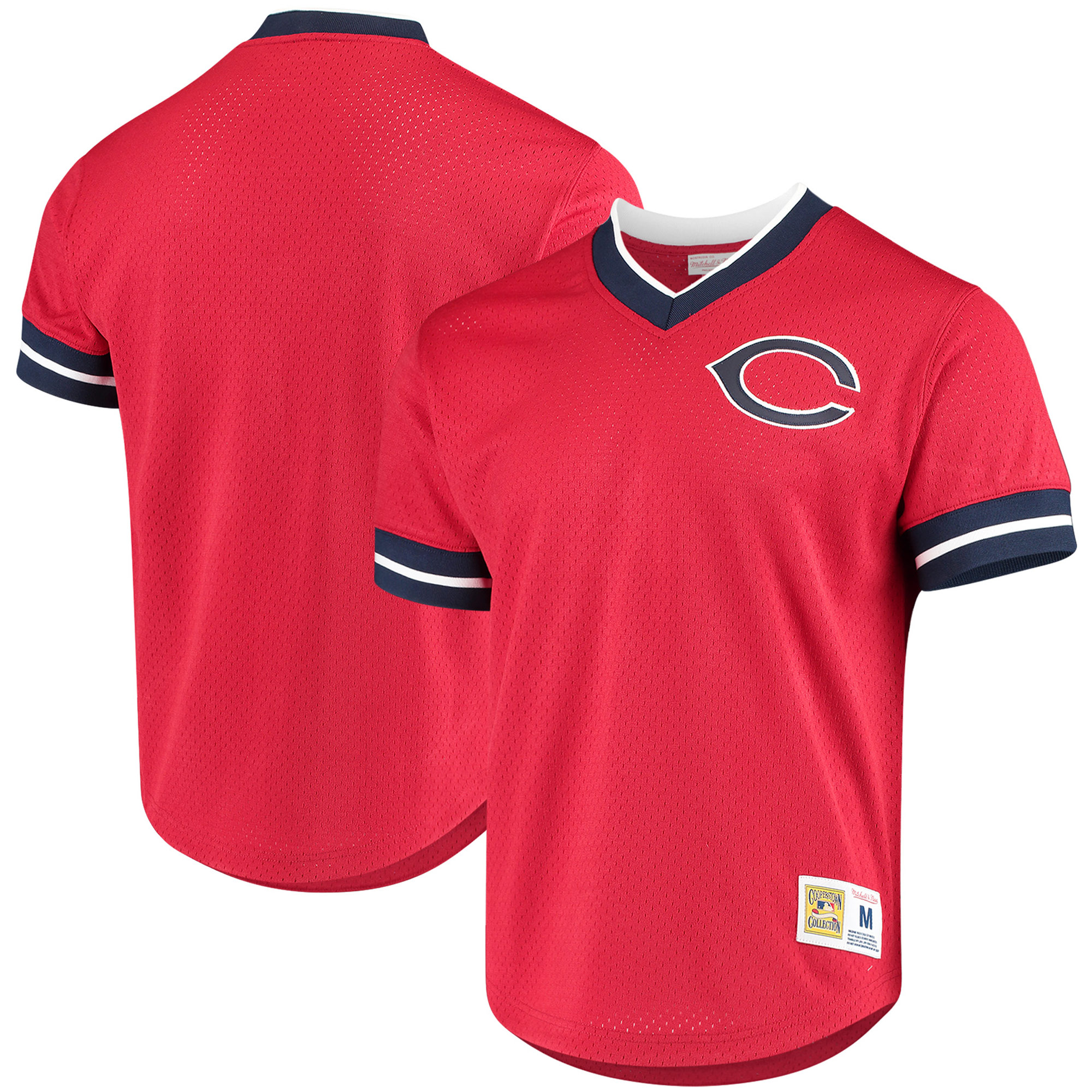 Cleveland Indians Mitchell & Ness Mesh V-Neck Jersey - Red