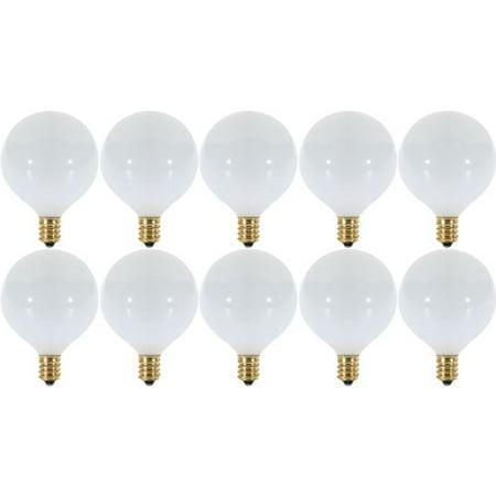 (10 Pack) 40 Watt White G16.5 Decorative (E12) Candelabra Base Globe (G16.5 White Decorative Globe)