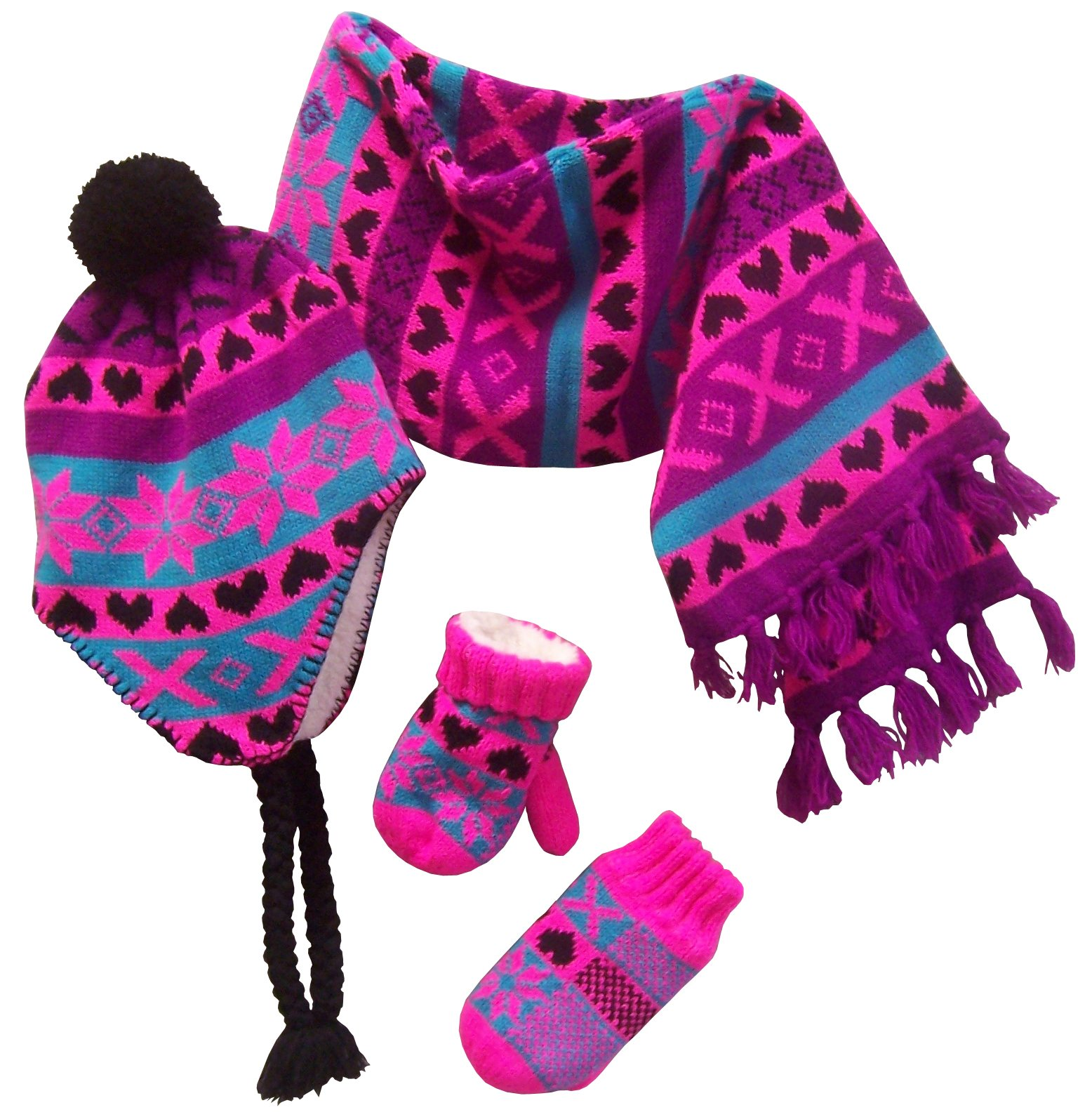 NICE CAPS Little Girls and Infants Sherpa Lined Snowflake Design Knitted Hat Mitten Scarf Cold Weather Winter Accessory Set - Fits Baby Toddler Kids Childrens Sizes