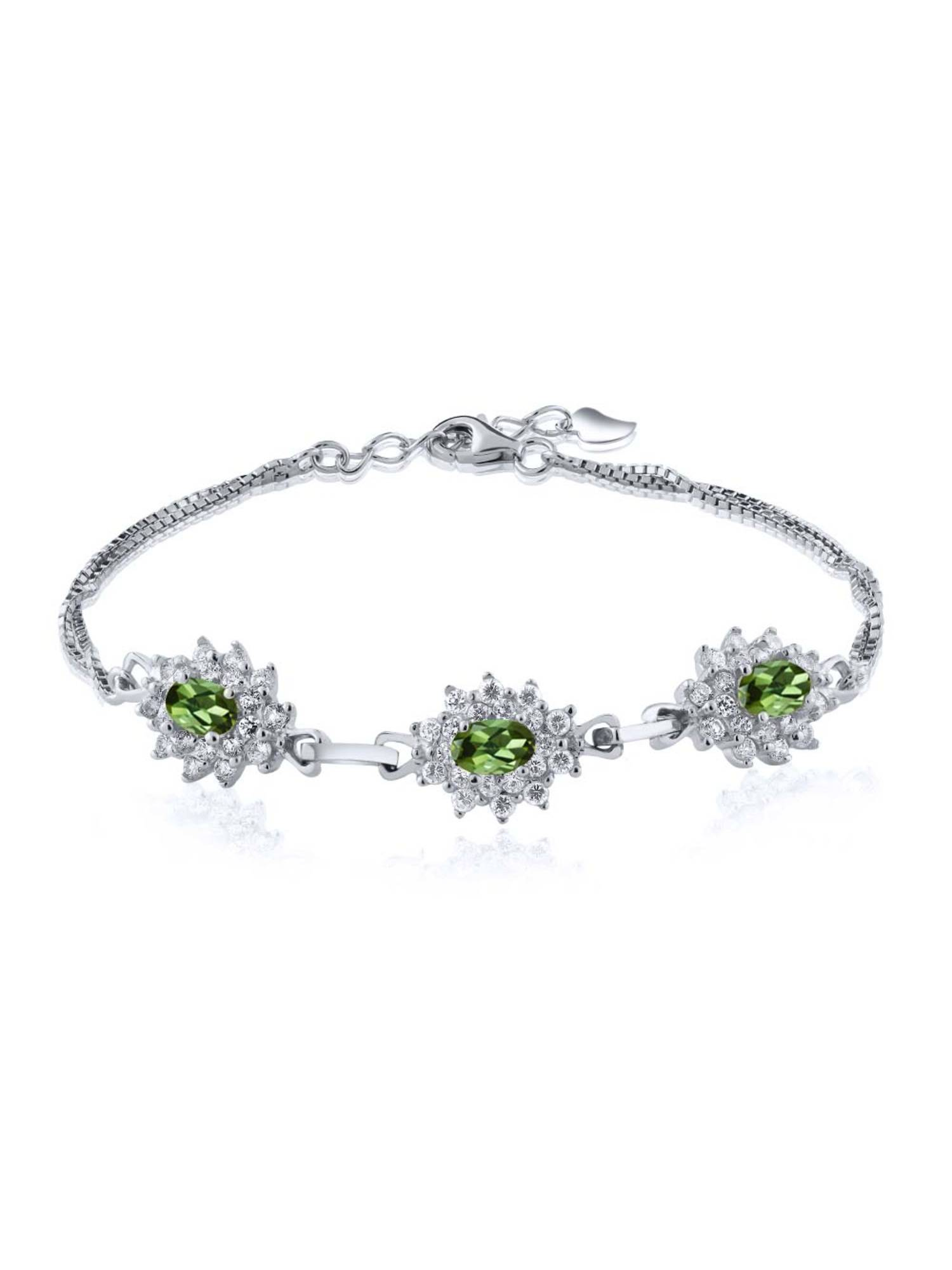 1.95 Ct Oval Green Tourmaline 925 Sterling Silver Bracelet by