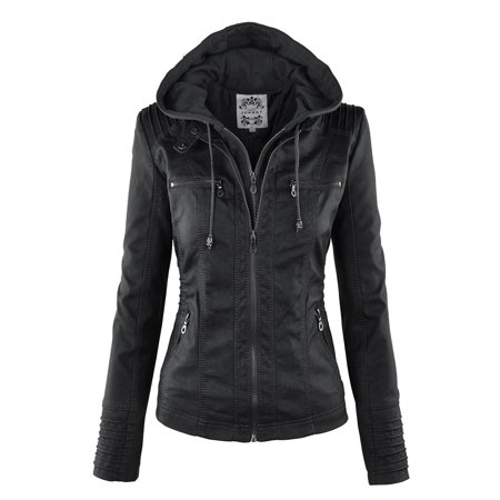MBJ WJC663 Womens Removable Hoodie Motorcyle Jacket XL (The North Face Nuptse 2 Jacket Womens)