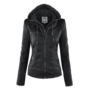MBJ WJC663 Womens Removable Hoodie Motorcyle Jacket XL BLACK