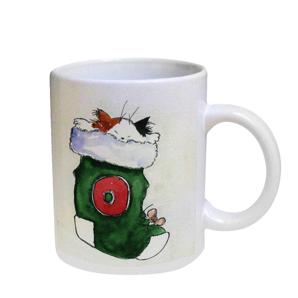KuzmarK Coffee Cup Mug Pearl Iridescent White - Maine Coon Kitty and Mouse JOY Set Christmas Stocking O Cat Art by Denise Every