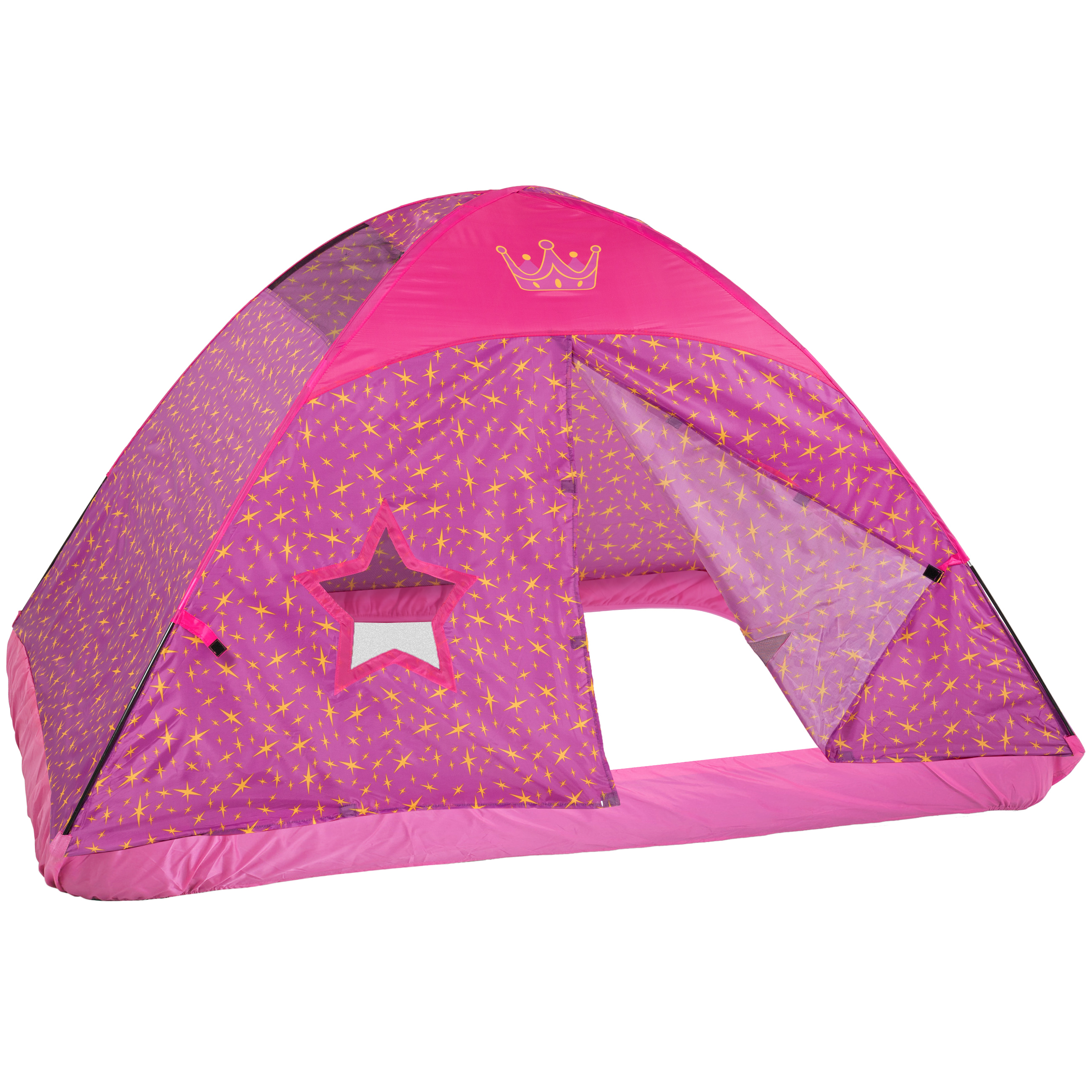 Best Choice Products BCP Pink Princess Full Size Bed Tent Kid's Fantasy Easy Set Up Play House