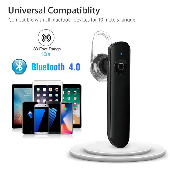 Bluetooth Headset, Wireless Earpiece Bluetooth 4 0 for Cell Phones, In-Ear  Piece Hands Free Earbuds Headphone w/ Mic, Noise Cancelling for Driving,