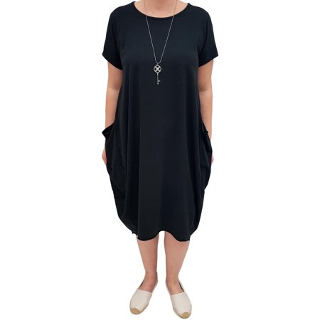 Women Short Sleeve Midi T-shirt Dress Ladies Big Pocket Loose Stretch Tops Solid