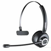 LUXMO Trucker Bluetooth Headset, Wireless Headphones with Microphone, Noise Cancelling Headphones for Truck Driver, Wireless Over the Head Earpiece with Mic for Skype, Call Center