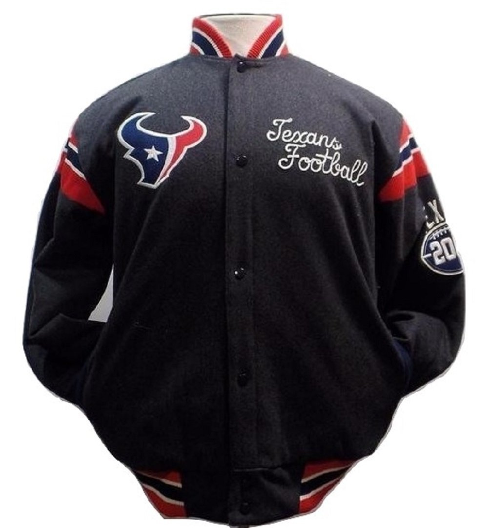 Houston Texans Wool and Satin Full Snap Button Up Reversible Jacket Men's by G-III Sports