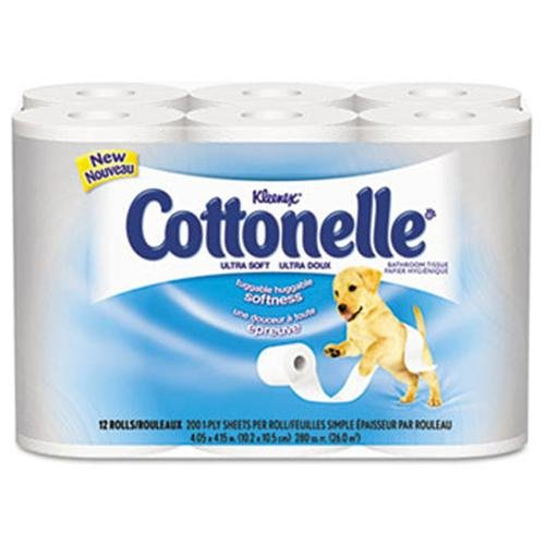"Kimberly-clark Cottonelle Ultra Soft Bath Tissue - 1 Ply - 12 Roll/pack - 4 / Carton - 4.20"" X 4"" - White (12456)"
