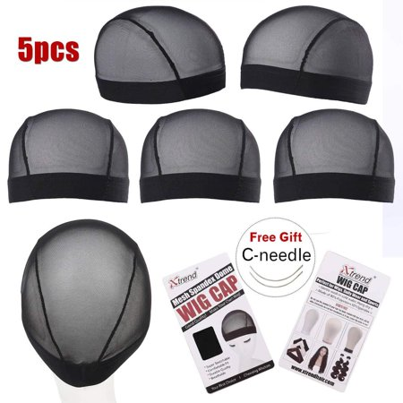 5 Pack Black Dome Cornrow Wig Caps Elastic Nylon Breathable Black Mesh net for Black women and Men S Size(20.5-22inch) thumbnail
