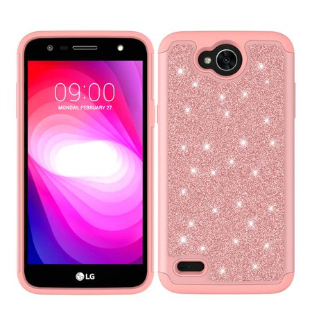 LG X Power 2, LG Charge, LG Fiesta 2 lte, Fiesta lte, LG K10 Power Diamond Glitter Case Shock Proof Hybrid Case with [HD Screen Protector] Phone Case - Rose Gold - image 1 of 4