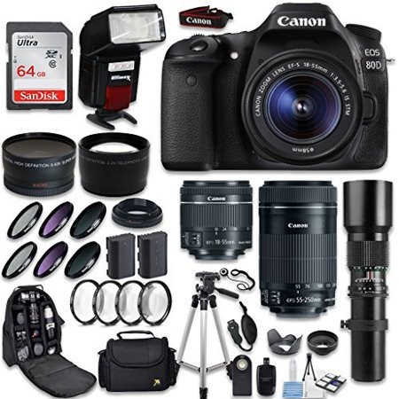 Canon EOS 80D DSLR Camera + Canon EF-S 18-55mm + Canon EF-S 55-250mm Lens & Telephoto 500mm f/8.0 + 0.43 Wide Angle Lens + 2.2 Telephoto Lens + Macro Filter Kit + 64GB Memory Card + Accessory