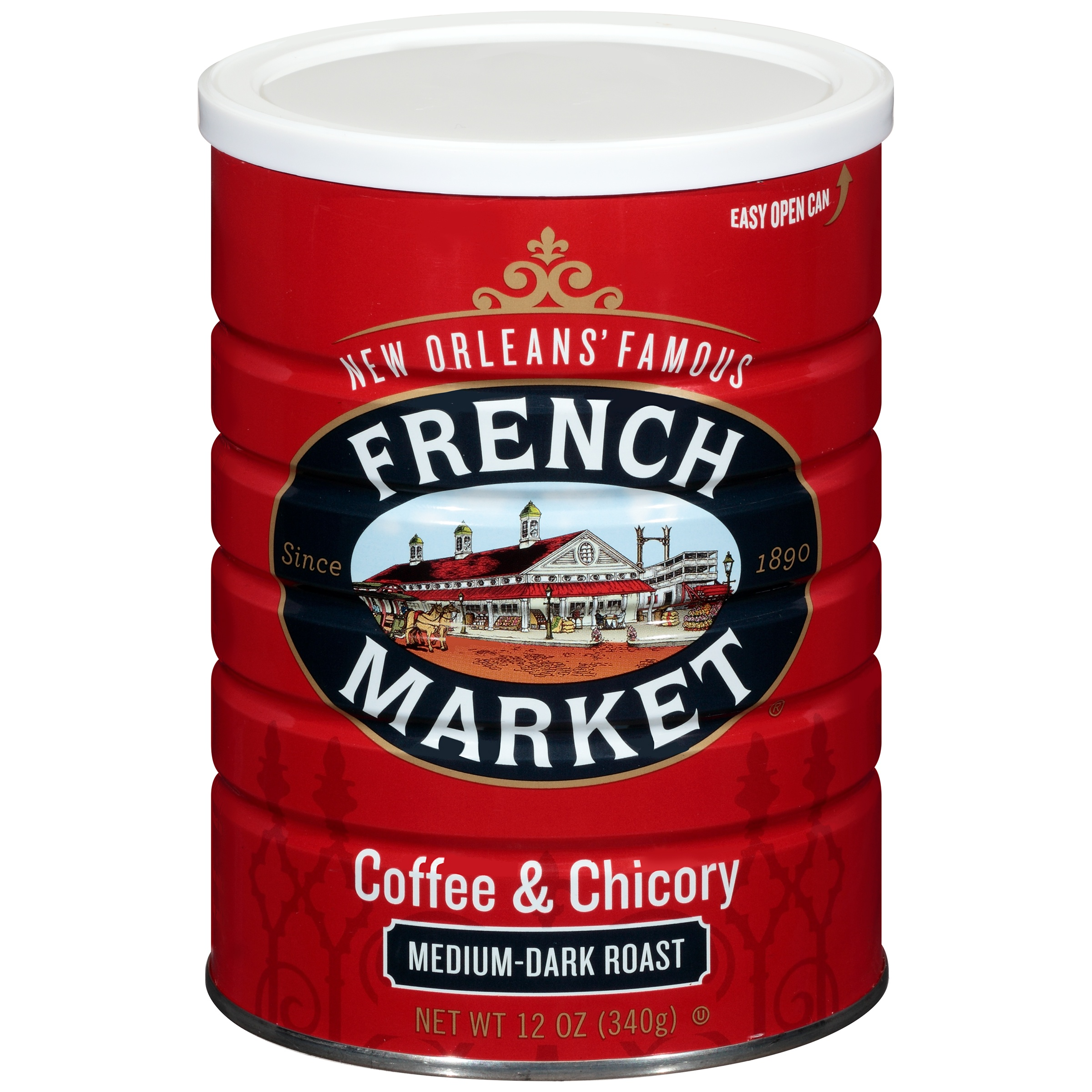 French Market Medium-Dark Roast Ground Chicory & Coffee, 12 oz