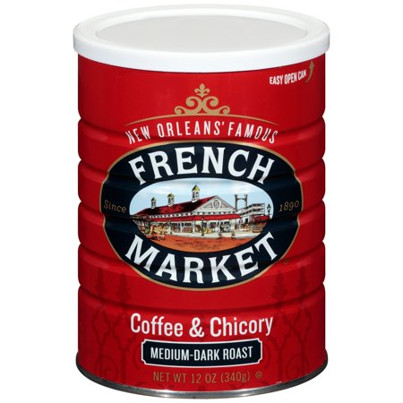 French Market Medium-Dark Roast Ground Chicory & Coffee, 12 - New Orleans French Coffee