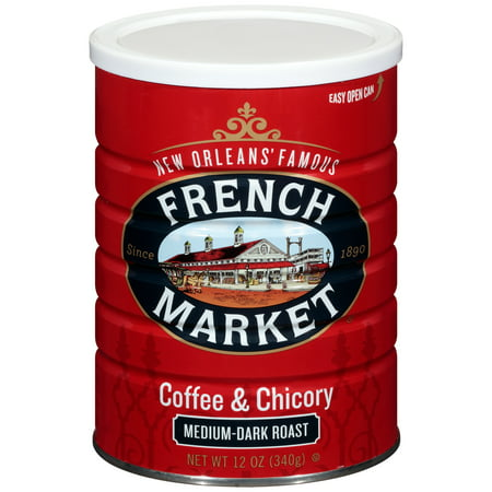 French Market Medium-Dark Roast Ground Chicory & Coffee, 12 oz - New Orleans French Coffee